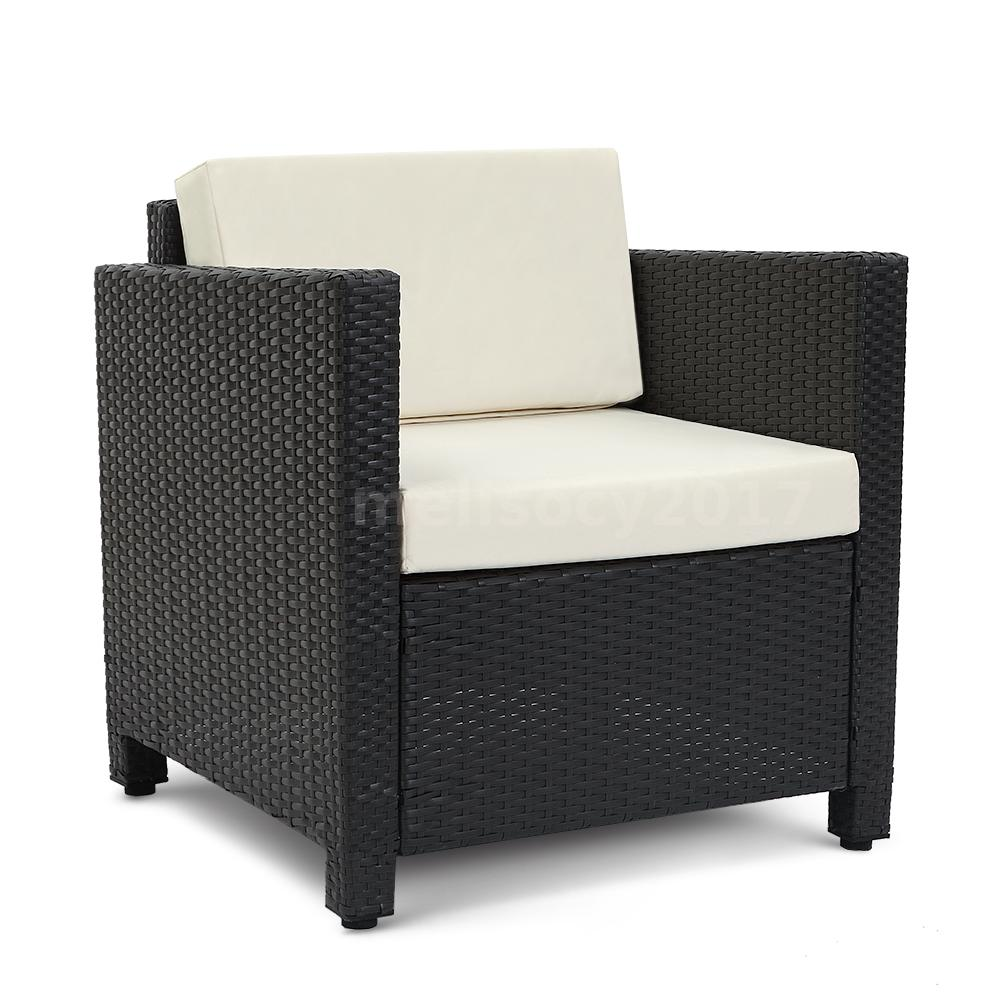 Ikayaa 4pcs Rattan Patio Sofa Table Set Garden Furniture Black Wicker Weave O3m6 Ebay